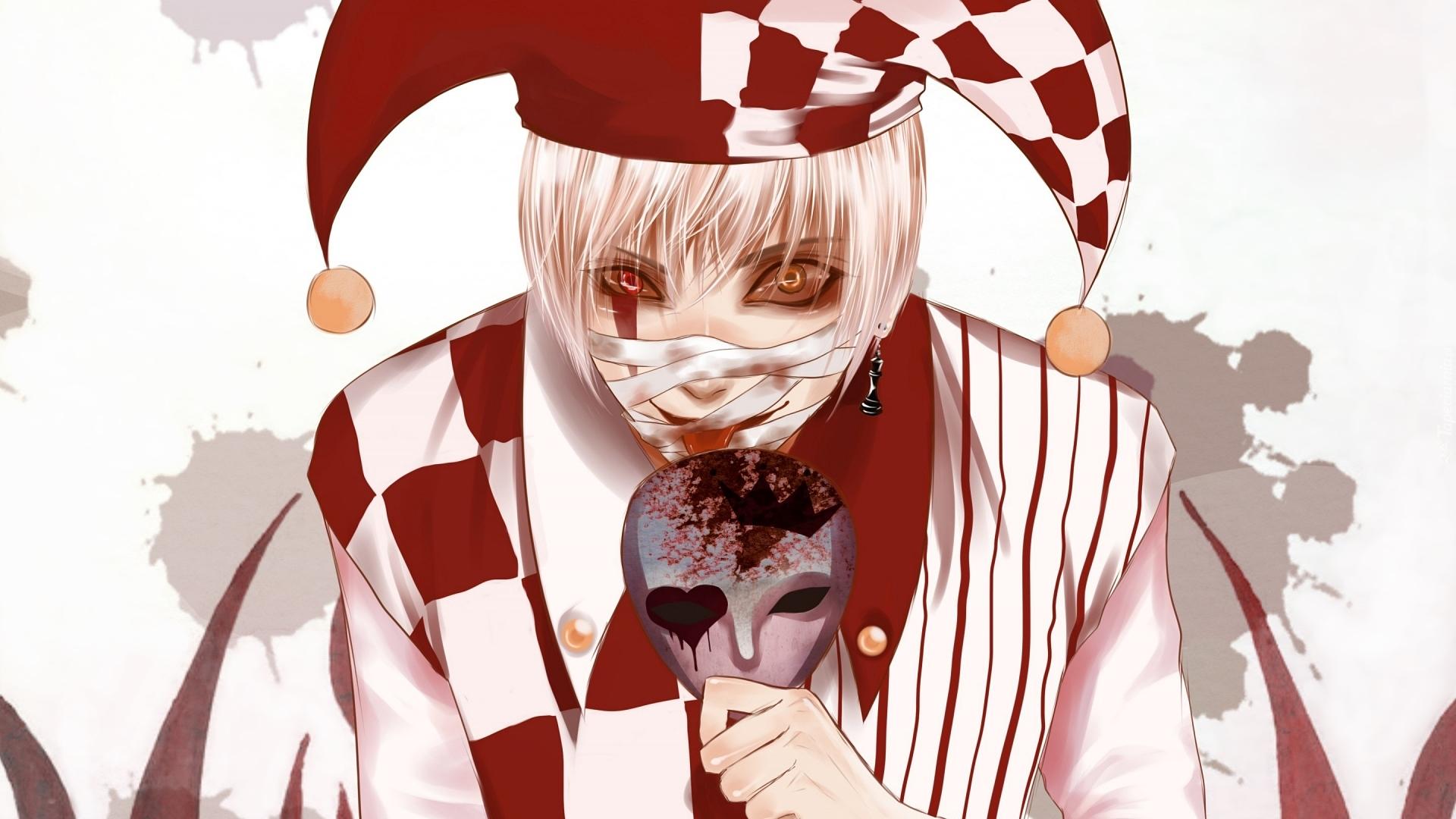 Poets Of The Fall Daze Wallpaper Szalony Klaun Z Maską W Dłoni W Grafice 2d