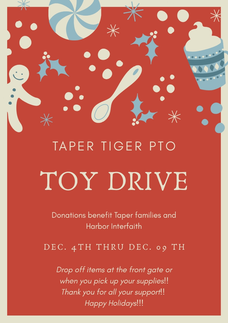 Toy Drive December 4th – December 9th