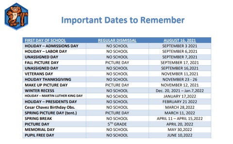 2021-2022 Important Dates to Remember and School Schedule