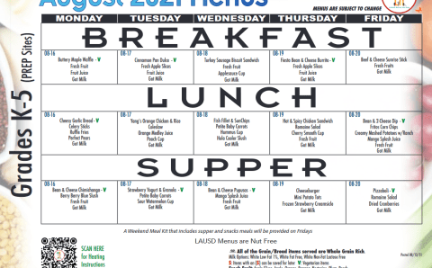LAUSD Lunch Menu for the Week of 8/16-8/20