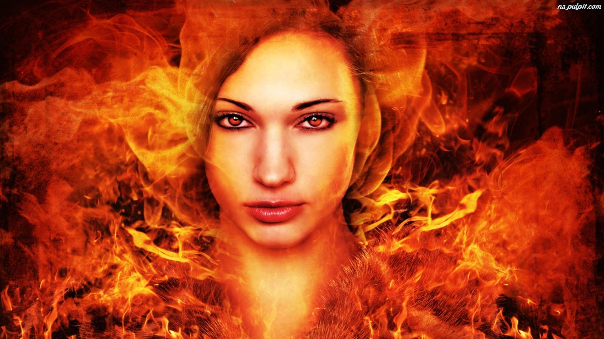 Fantasy Fallen Angels Girls Wallpaper Ogień Twarz Kobiety Na Pulpit