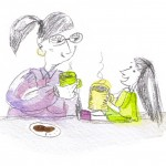 LittleGirl having cuppa with Woman