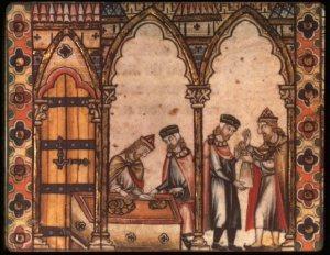 Keskiaikainen kuva esittää juutalaista rahanlainaajaa työssään. Kuva: Creative Commons