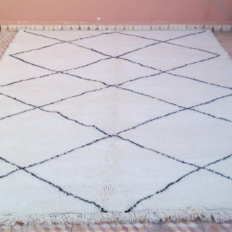 berber beni ouarain rug of morocco made with natural black white wool
