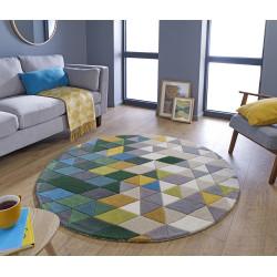 tapis colore rond en pure laine multicolore prism