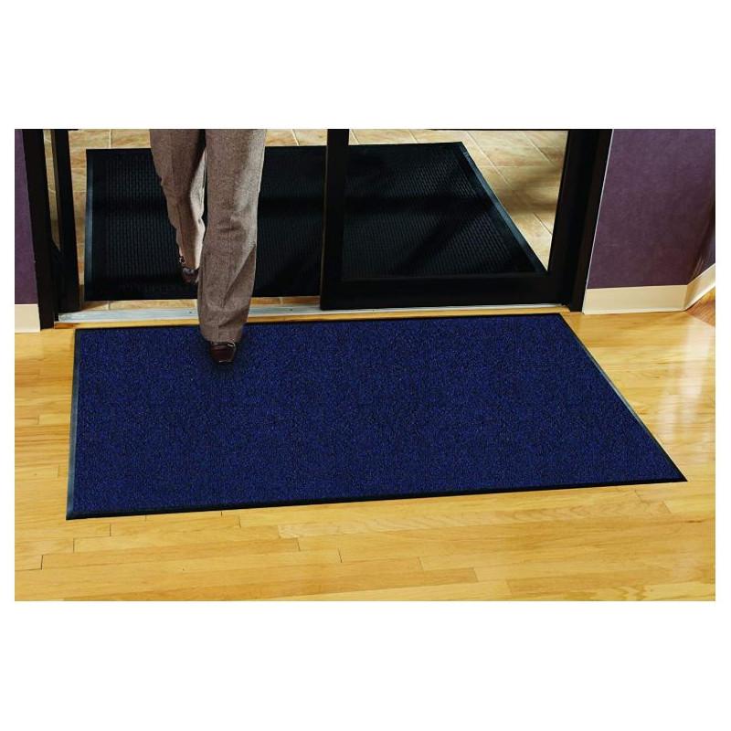 tres grand tapis d entree de qualite professionnel de couleur bleue avec semelle anti derapante
