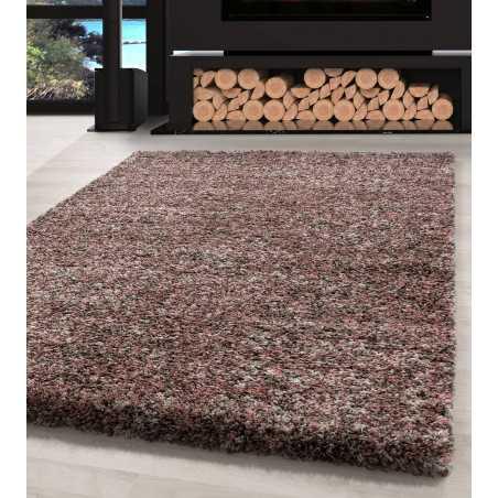 tapis de salon shaggy haute qualite rose taupe beige creme mouchete