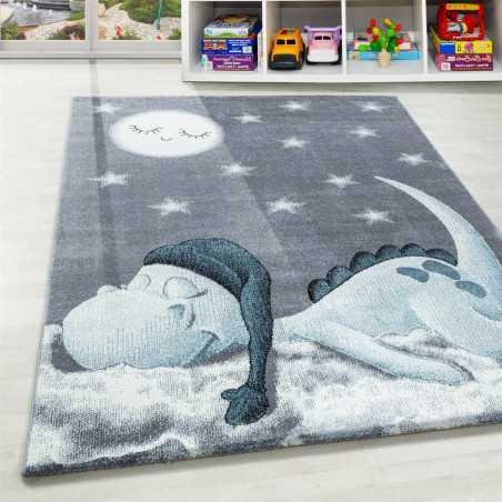 tapis enfant chambre de bebe motif dino gris bleu blanc