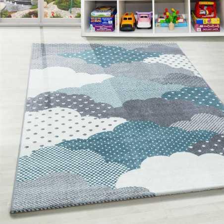 tapis enfant chambre de bebe motif nuages bleu gris blanc