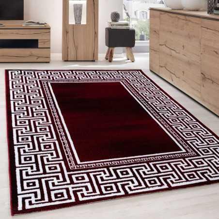 tapis design moderne geometrique bordure versace optique noir rouge blanc