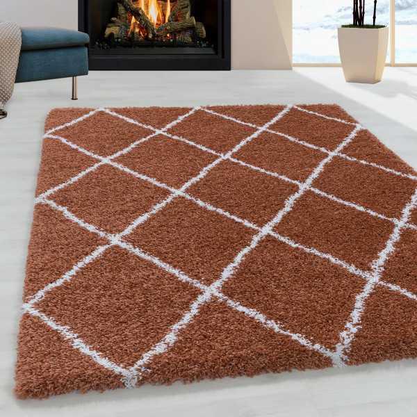 tapis de salon shaggy motif de diamant poil souple couleur terra grosse 60x110 cm