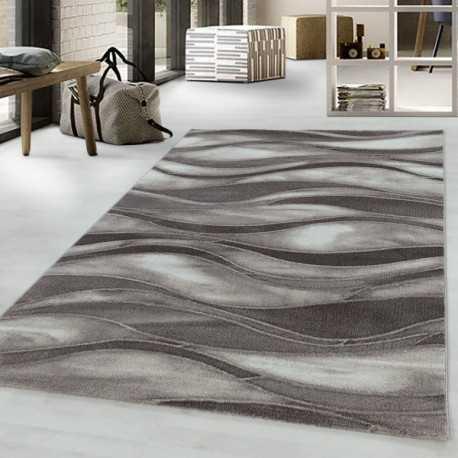 tapis design de salon tapis a poil ras motif de vagues abstraites poil marron