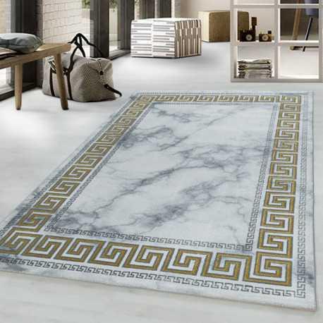 tapis design a poil ras tapis de salon motif marbre frontiere antique couleur or