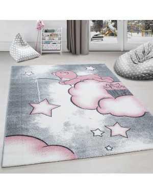 tapis chambre d enfant ours la peche aux etoiles nuages gris blanc rose