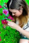 Ich lege mich ins Blumenbeet.