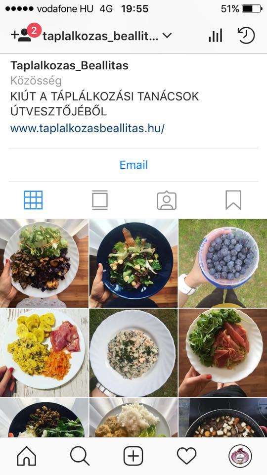 Táplálkozás-beállítás az Instagramon