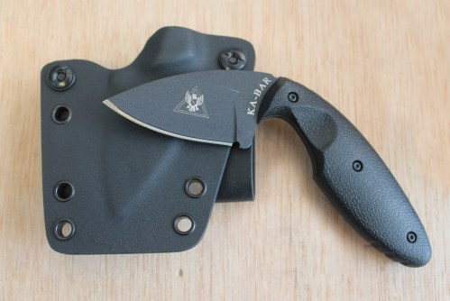 Fixed blade knife sheathe equipped with soft loops and fabricated from .080 Kydex by Tap Rack Holsters and Custom Kydex.