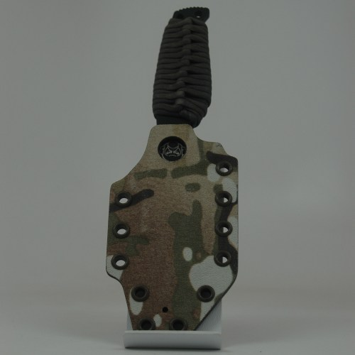 Fixed blade custom knife sheathe fabricated from .080 Kydex by Tap Rack Holsters and Custom Kydex.