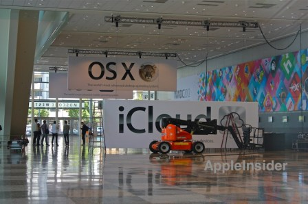 WWDC 2012 iOS, OS X & iCloud Banners Erected by Workers
