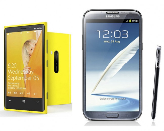 Samsung Galaxy Note 2 and Nokia Lumia 920