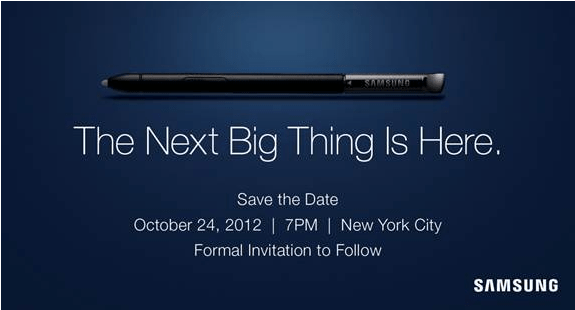 samsung galaxy note 2 invite Galaxy Note 2 Release Date Slated for October 24
