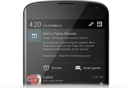 Android Jelly Bean Notifications 4.2 Notifications