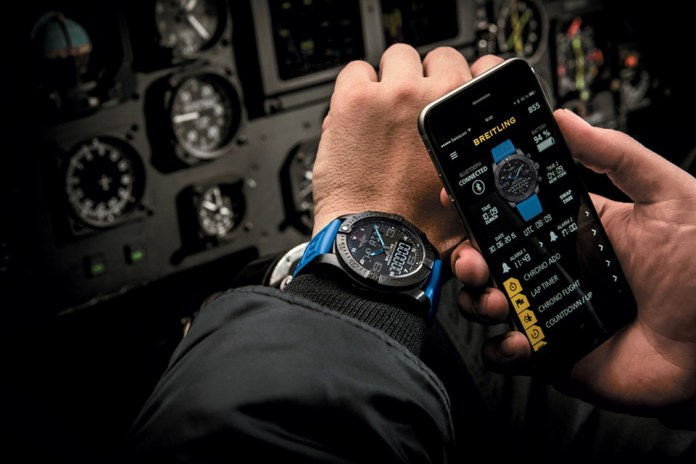 Breitling Exospace B55 Smartwatch paired with a phone via Bluetooth