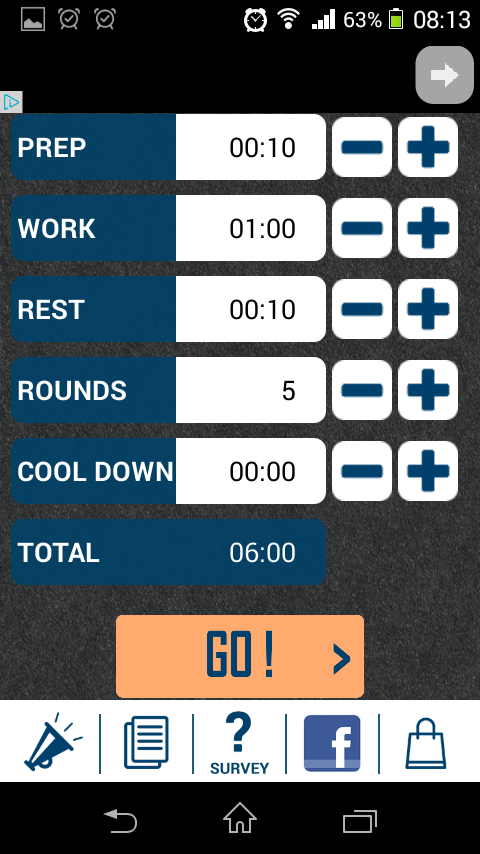 HIIT Interval Timer's main screen