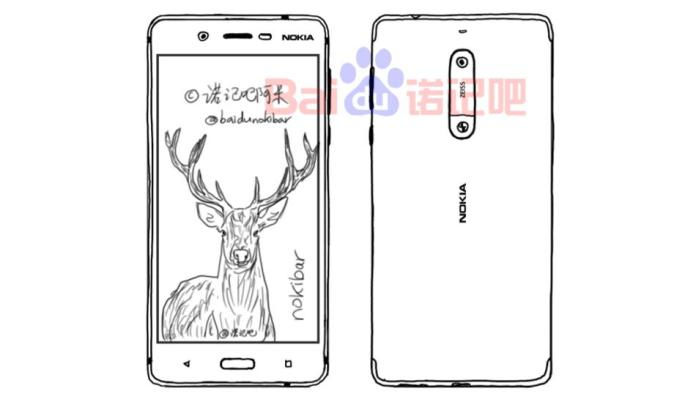 Image of the leaked design sketchups supposedly of the Nokia 8 and Nokia 7