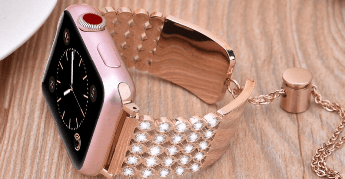 An image of the rose gold Luxury Diamond Stainless Steel Apple watch band designed by V-Moro.