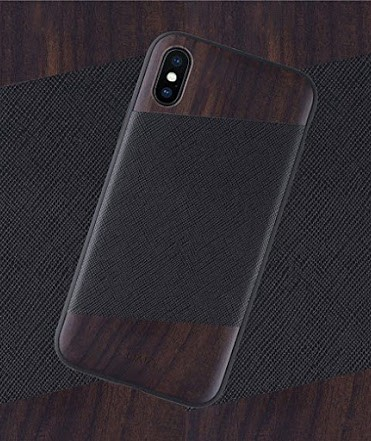 iATO Wood iPhone X Leather Case