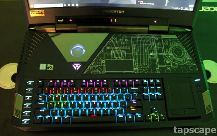 The keyboard of AcerPredator 21X gaming laptop
