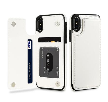 White Flip Leather Wallet Case