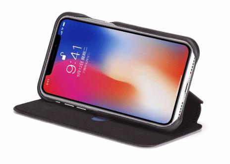 Flip Stand Leather Wallet Case Black Open Screen