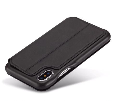 Flip Stand Leather Wallet Case Black Back