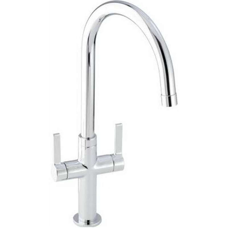 Abode Linear Style Twin Lever Mono Sink Mixer Chrome