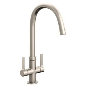 Abode Pico Twin Lever Mono Sink Mixer Brushed Nickel