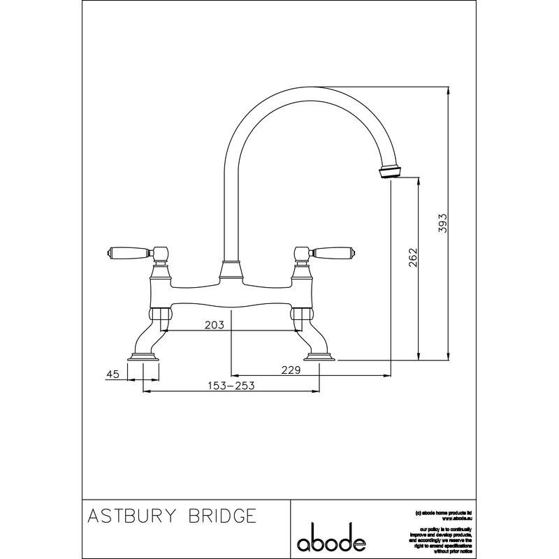 Abode Astbury Dual Lever Bridge Mixer Pewter