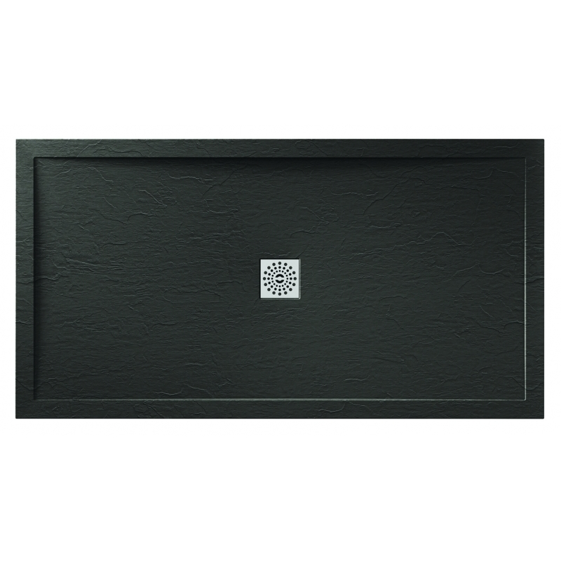 April Waifer Slate Effect Shower Tray 1500x700mm Black