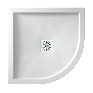 April Waifer Slate Effect White Shower Tray 800mm Quadrant