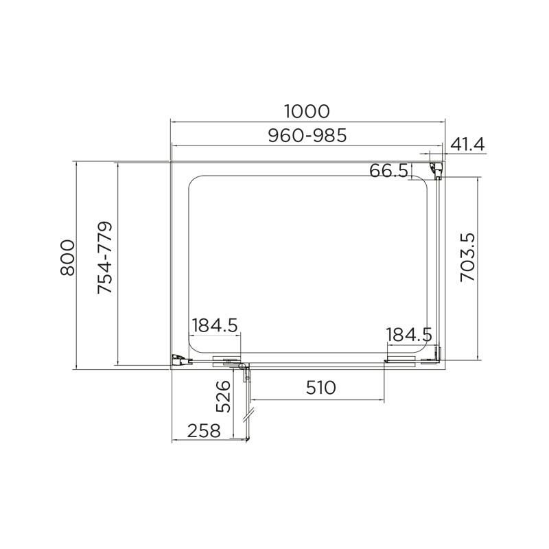 Aquadart Inline Hinged Door 2 Sided Enclosure 1000x800mm