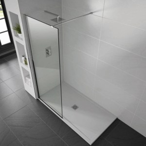Aquadart 10mm 1400mm Wetroom Screen Smoked Glass