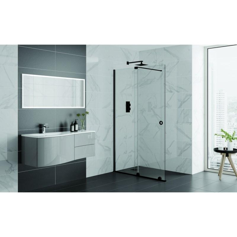 Aquadart Rolla 8 Sliding Wetroom Door 1600mm Matt Black