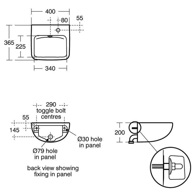 Armitage Shanks Contour 21  40cm Back Outlet Basin Right S0435