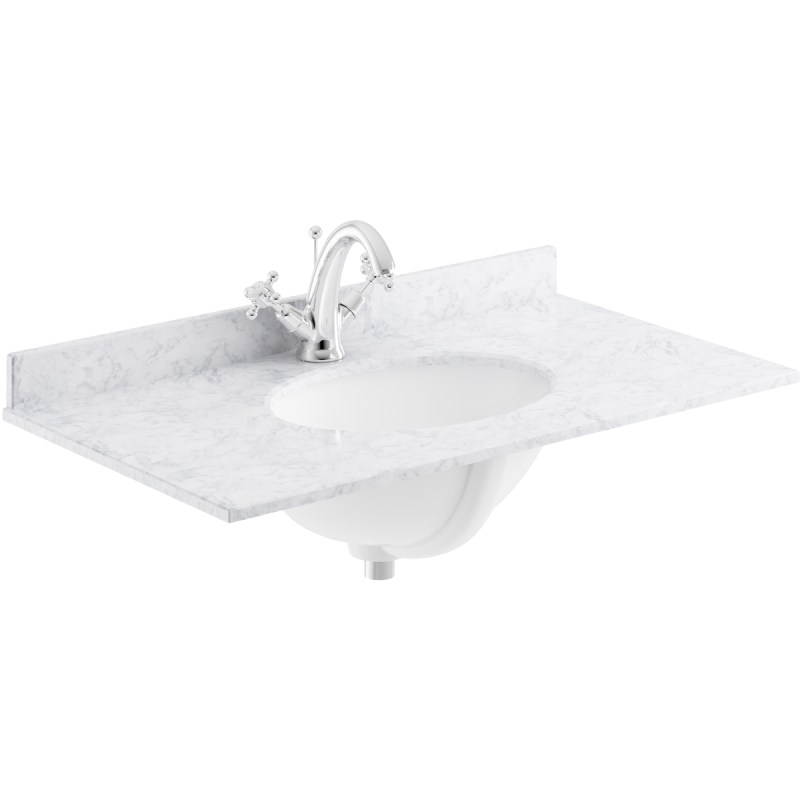Bayswater White 800mm Single Bowl 1 Tap Hole Marble Top