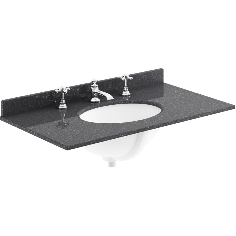 Bayswater Black 800mm Single Bowl 3 Tap Hole Marble Top