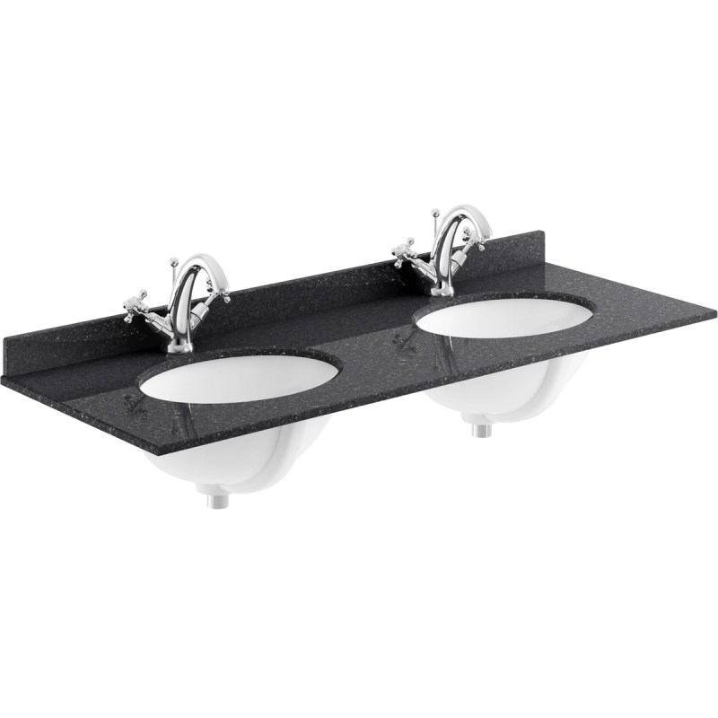 Bayswater Black 1200mm Double Bowl 1 Tap Hole Marble Top