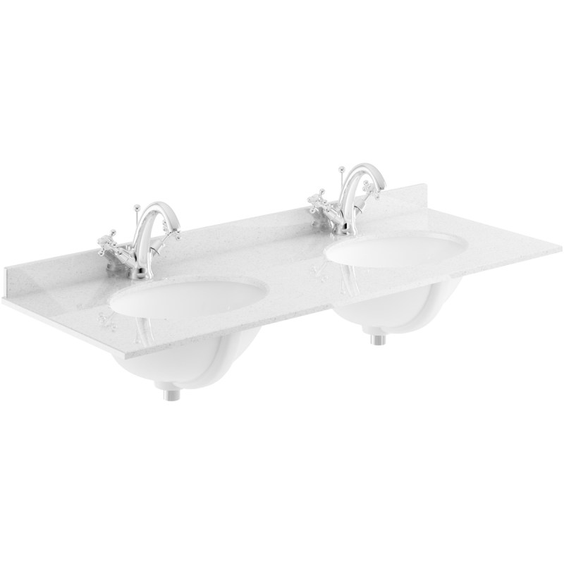 Bayswater Grey 1200mm Double Bowl 1 Tap Hole Marble Top