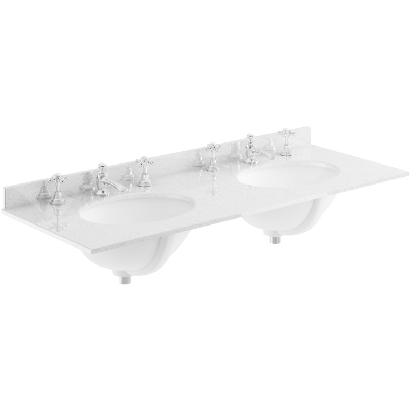 Bayswater Grey 1200mm Double Bowl 3 Tap Hole Marble Top