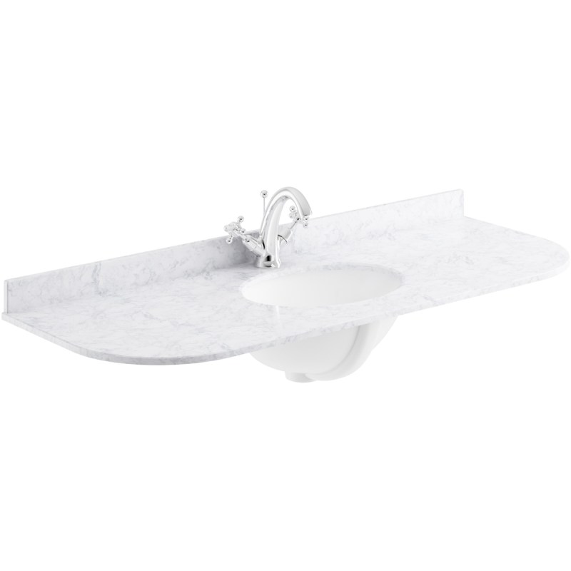 Bayswater White 1200mm Single Bowl 1 Tap Hole Curved Marble Top